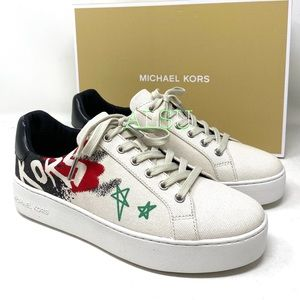 Michael Kors Poppy Lace Up Heavy Canvas Cream W